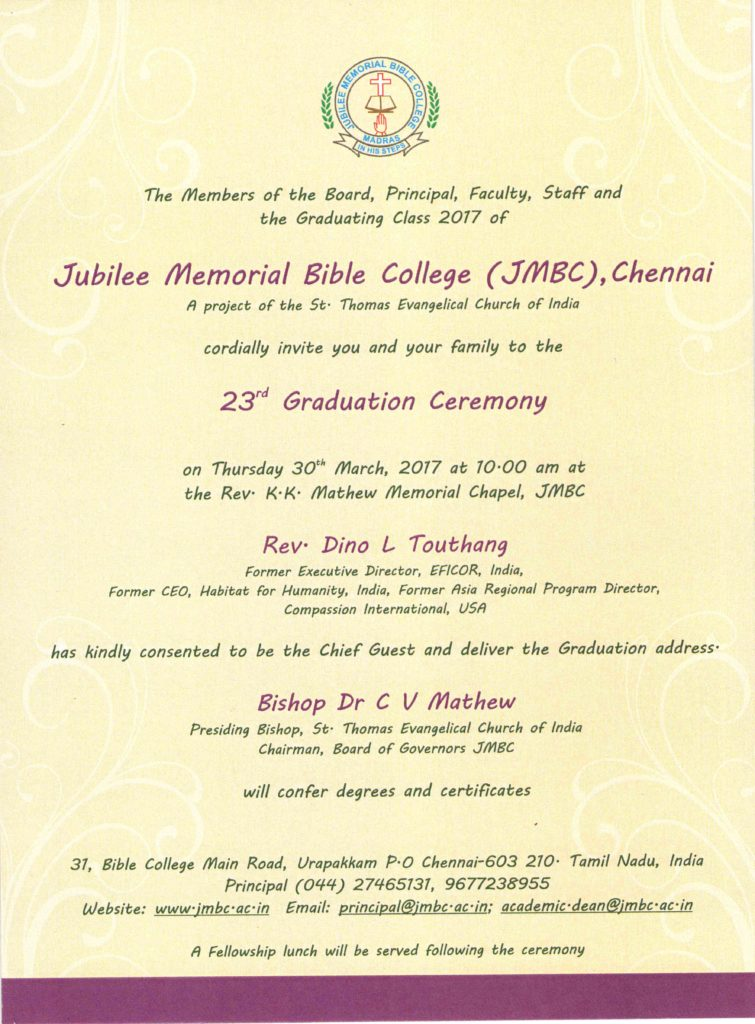You Are Invited To The  Graduation Ceremony  Jubilee Memorial