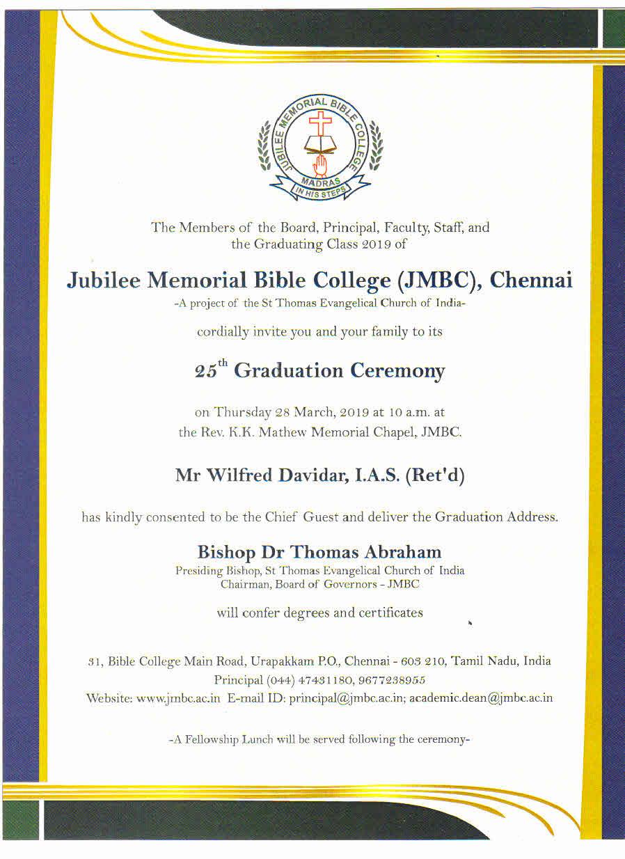 Jubilee Memorial Bible College | An Interdenominational