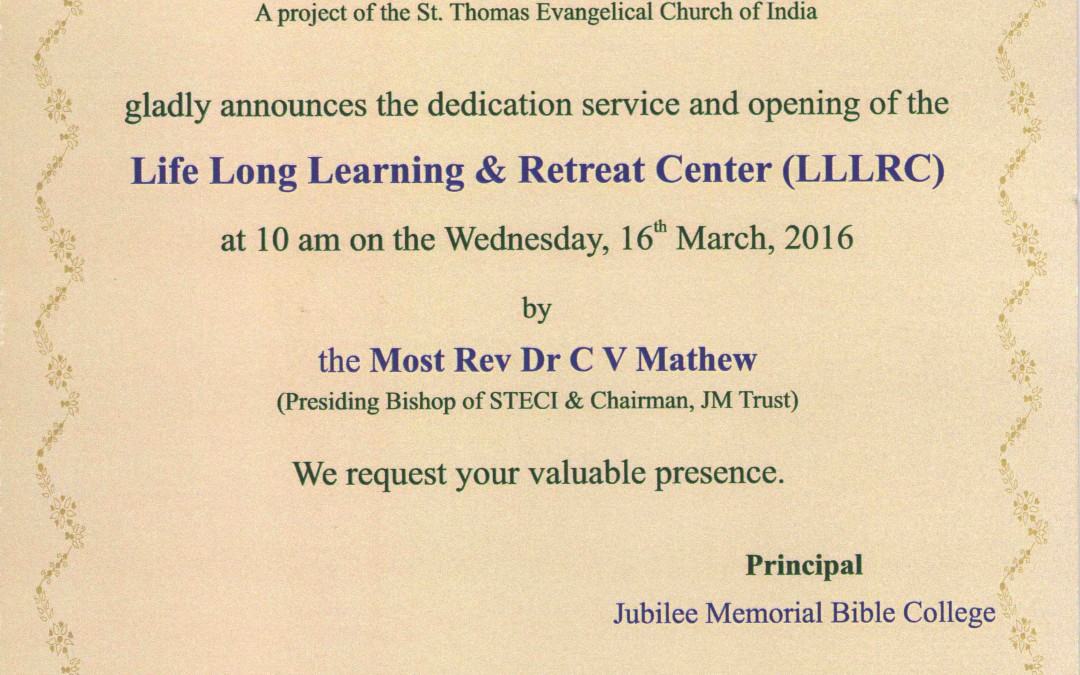 Life Long Learning and Retreat Center dedication